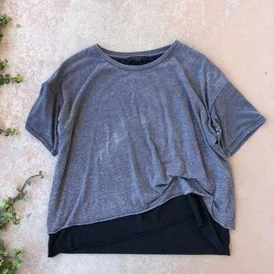 ALLSAINTS Bev Gray Distressed Ruched Layered Tee